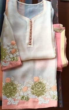 Discover thousands of images about Different types of stylish kurti neck designs - ArtsyCraftsyDad Salwar Designs, Salwar Kameez Neck Designs, Kurta Designs Women, Kurti Designs Party Wear, Neck Designs For Suits, Dress Neck Designs, Blouse Designs, Embroidery Suits Punjabi, Embroidery Suits Design
