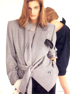 Cindy Crawford in Calvin Klein Blazer, photographed by Wayne Maser for Vogue, 1987
