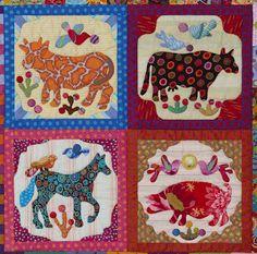 this is spectacular!!  Glorious Applique: Pandemonium Quilt tutorial # 6, pieced blocks & four animals