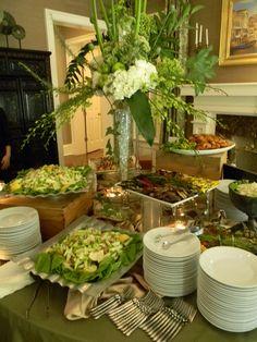 Appealing buffet for any event. Buffet Set Up, Styling A Buffet, Sweet Buffet, Wedding Reception Food, Wedding Catering, Wedding Ideas, Catering Food Displays, Catering Ideas, Catering Table