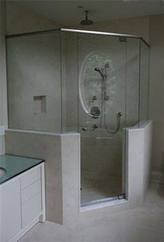 glass shower enclosure Bathroom Lighting, Glass Shower, Lighted Bathroom Mirror, Bathroom Mirror, Bathroom, Glass Shower Enclosures, Glass, Bathtub, Mirror