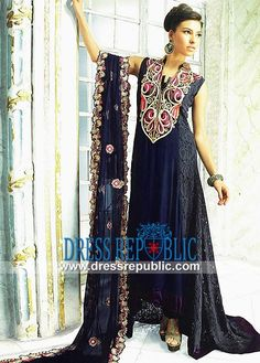 Navy high-low hemline long dress with heavy embellished dupatta