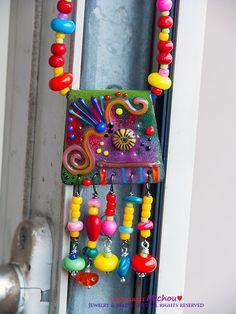 Shangri-La *Boho* unique modern Art *Necklace*- Enameled Copper Art 2017 by Michou Pascale Anderson - Brand: Sonic & Yoko by MichouJewelry on Etsy