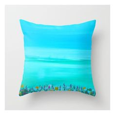 Bright Bold Green Serene Zen Pillow Cover Contemporary Ocean Nature... (2.395 RUB) ❤ liked on Polyvore featuring home and home decor