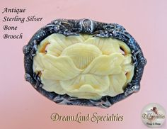 Antique Ornate Sterling Silver Carved Bone Brooch by DLSpecialties,