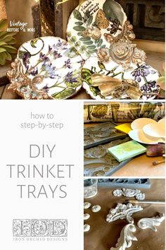 These unique trinket trays made from seashells are perfect for holding keys, loose change, jewelry, or other keepsakes. Step-by-step DIY decor tutorial using seashells, IOD moulds, IOD Transfers, and air dry clay. Perfect to give as a Mother's Day gift or a birthday gift, or you could make them to sell in your handmade shop. Craft Stick Crafts, Diy Craft Projects, Diy And Crafts, Crafts For Kids, Orchard Design, Iron Orchid Designs, Paperclay, Hand Painted Furniture, Creative Thinking