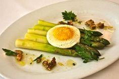 BIN 36 new menu  Spring Asparagus Salad, Swan Creek Farm fried egg, pancetta vinaigrette  I love spring!