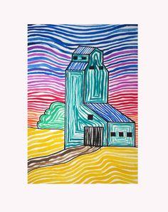PRAIRIE ELEVATOR | by heidabjorg 5th Grade Art, Grade 2, Elements And Principles, Art Programs, Arts Ed, Elevator, Social Studies, New Art, Art Drawings