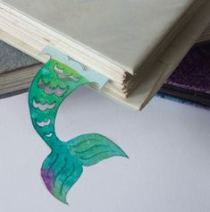 Mermaid Tail Bookmark  Original Hand Made Paper Cut by GaelanArt