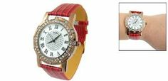 "Como Ladies Red Faux Leather Crocodile Design Watchband Wristwatch by Como. $8.95. Band Material: Faux Leather; Case Material: Glass, Rhinestone & Stainless Steel. Dial & Case: Round; Band Color: Red; Rhinestone Color: Amber Color. Weight: 34g; Package: 1 x Wrist Watch. Product Name: Wrist Watch; Fit for: Ladies. Case Size: 1.5"" x 0.25""(D*T); Band Size: 7.5"" x 0.75"" (L*W). Round dial case and outside amber rhinestone decor design. Faux leather crocodile pattern..."