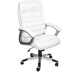 Executive Office Chair Swivel White Leather Computer Pc Ergonomic Desk Armchair