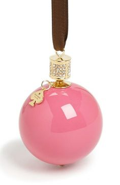 pink globe ornament - need one of these! // Kate Spade #pink #holiday #ornaments