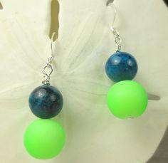 Teal Jade and neon green dangle earrings  neon by beadwizzard, $7.50