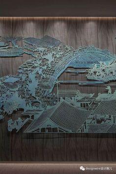 Wall Sculptures, Sculpture Art, Wall Design, Design Art, Laser Art, Hanging Art, Chinese Art, Chinese Style, Geometric Shapes