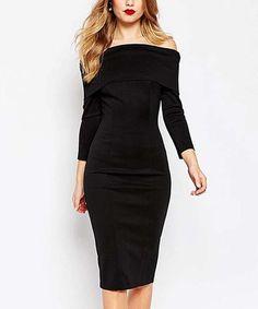 Another great find on #zulily! Black Off-Shoulder Dress #zulilyfinds