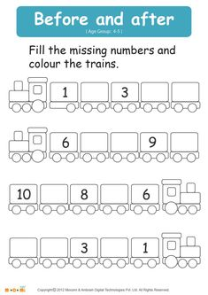 Kids for Worksheets: Before and After Number – Math Worksheet for Kids. For more interesting maths wo… Counting Worksheets For Kindergarten, Numbers Kindergarten, Numbers Preschool, Learning Numbers, Lkg Worksheets, Free Math Worksheets, Number Worksheets, Coloring Worksheets, Printable Coloring