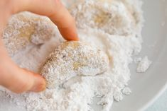 These gluten-free almond flour crescent cookies are a healthy take on my nanny's crescent cookie recipe. Each cookie only has about 60calories and 2 grams of sugar plus they can easily be made vegan! #almondflour #crescentcookies #christmascookies #holidaycookies #eatingbirdfood Crescent Cookie Recipe, Crescent Cookies, Almond Flour Pancakes, Almond Flour Recipes, Baking Recipes, Cookie Recipes, Free Recipes, Cream Cheese Homemade, Cinnamon Raisin Bread