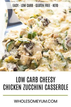 Low Carb Chicken Zuc Low Carb Chicken Zucchini Casserole Recipe with Gruyere Cheese Sauce - This low carb chicken zucchini casserole recipe comes with a delicious gruyere cheese sauce - and an EASY method to avoid a watery zucchini casserole! Low Carb Chicken Recipes, Low Carb Dinner Recipes, Real Food Recipes, Cooking Recipes, Healthy Recipes, Keto Recipes, Chicken Zuchini Recipes, Low Carb Zucchini Recipes, Crock Pot Recipes