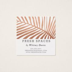 #trendy - #MODERN TROPICAL PALM LEAF logo trendy rose gold Square Business Card