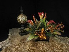 Triple Calla Lily and Berry Tuscan Floral Arrangement Home Decor   eBay