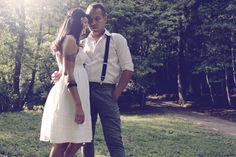 casal, parque, couple, forest.