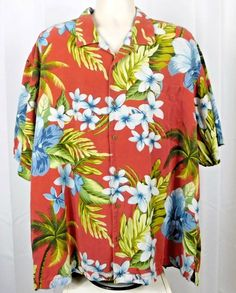 67b1daa125ee5c Tommy Bahama 100% Silk Mens Hawaiian Camp Shirt XXL Red Floral Pocket   TommyBahama