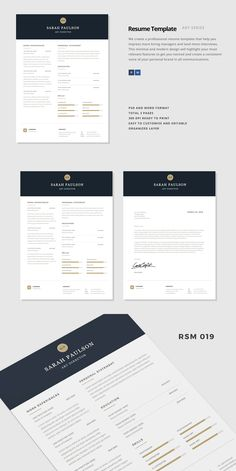 Nebula Classy Modern Resume Template With Gold Accents.