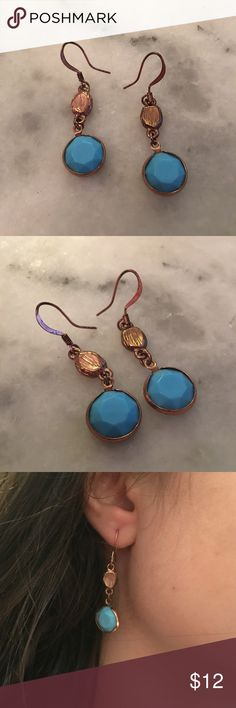 Blue and brass earrings Dainty and light, but the brass-color metal gives them edge. Not sure of materials, just really cute! Jewelry Earrings