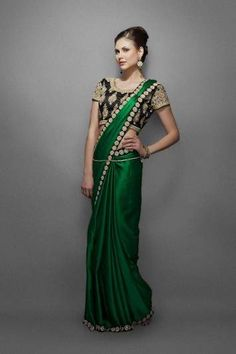 Emerald green sari with border