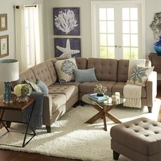 Pier 1 Imports Build Your Own Nyle Putty Tan Sectional Collection French Country Living Room, Beach Living Room, Homedecor Living Room, Coastal Living Rooms, Living Decor, Pier 1 Living Room Ideas, Tan Sectional, Country Living Room, Living Room Furniture