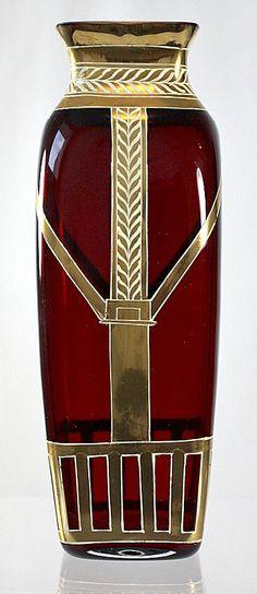 "Lovely - but not Nouveau in any sense other than the time frame. Should be labeled Belle Epoque. ""Art Nouveau vase made by Josef Riedel c. Belle Epoque, Red Glass, Glass Art, Modernisme, Art Nouveau Design, Art Moderne, Bottle Vase, Antique Glass, Bauhaus"