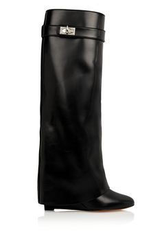 Givenchy | Shark Lock wedge knee boots in black leather | NET-A-PORTER.COM