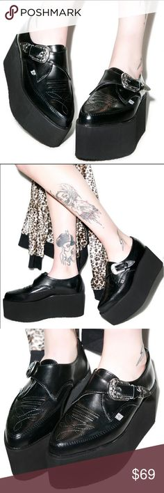 """T.U.K. Leather Stacked Western Buckle Creeper 5 New with original size tags! T.U.K. Leather Stacked Pointed Buckle Creepers are ready for a high-elevation ho-down! These fetish creepers feature a massive 3"""" inch platform and a cowboy boot meets oxford style upper complete with decorative detail stitching at the pointed toe and silver buckle with longhorn steer. Stand tall in these monster platforms! Completely sold out on Dollskill!  Materials: Leather Uppers New with minor Shelf wear…"""