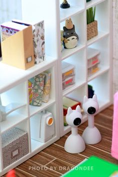 Modern Miniatures by Dragondee ~ IKEA doll furniture bookcase ~ love all the little miniature things!