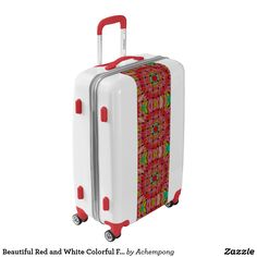 Beautiful Red and White Colorful Floral Pattern Luggage #Cute nice lovely amazing #color design seasonal  gifts