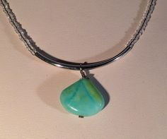 Blue Opal and Silver Necklace Pendant with by RubyDsArtandJewelry