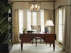 Traditional home office, Window treatments, Writing desk, Computer desk, Classic style Patterned Chair, Bay windows.