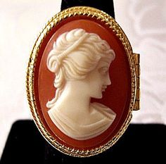 White Orange Womans Cameo Poison Ring by PrettyJewelryThings
