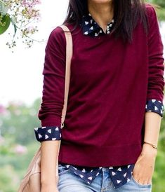 Berry sweater, navy and white print button down shirt under