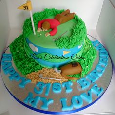 Golf themed cake decorated with fondant and buttercream icing.