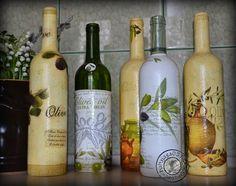 decoupage i inne dziwadła ...: Butelki na oliwę