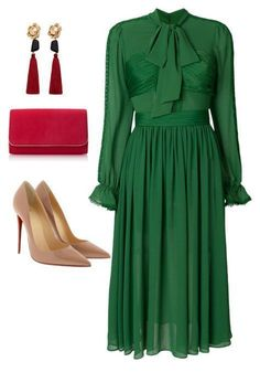 Glam green dress with red accessories