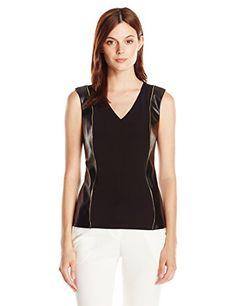 Calvin Klein Women's S/L Top W/ Faux Leather Panels - http://www.darrenblogs.com/2016/08/calvin-klein-womens-sl-top-w-faux-leather-panels/