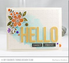 Big Hello Die-namics, Bold Blooms Stamp Set and Die-namics, Chevron Grid Background, Label maker Sentiments - Barbara Anders  #mftstamps