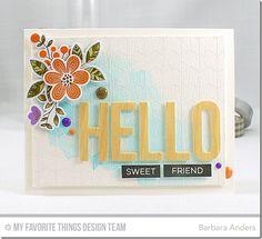 Big Hello Die-namics, Bold Blooms Stamp Set and Die-namics, Chevron Grid Background, Label maker Sentiments - Barbara Anders  #mftstamps