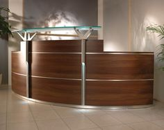 Decorations, Semi Circular Wooden IKEA Reception Desk For Small Office Design And Beige Ceramic Floor: Fantastic Ideas for IKEA Reception Desk Small Reception Desk, Hotel Reception Desk, Reception Desk Design, Reception Counter, Reception Table, Small Office Design, Home Office Design, Office Designs, Used Office Furniture