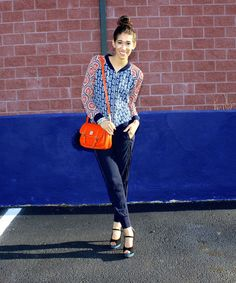 Back on Track - The Style Contour | how to style track pants, '90s fashion outfit ideas, bomber jacket, paisley print, orange cross body outfit, olive & oak bomber, dooney & bourke orange purse, street style outfit idea, trendy outfit, spring 2016 trends