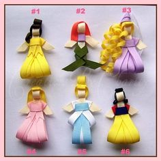 Disney Princess Hair Bow Clips Ribbon Sculpture Girl Accessory