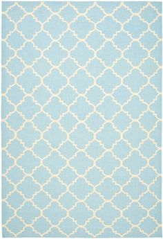 Safavieh Dhurries DHU-554 Light Blue / Ivory (B) Area Rugs. like the blue color