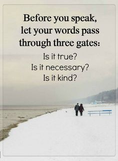 Quotes Before you speak, let your words pass through three gates: Is it true? Is it necessary? Is it kind?